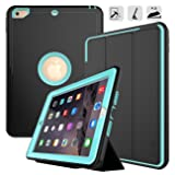 New iPad 9.7 2017/2018 case - DUNNO Heavy Duty Full Body Rugged Protective Case with Auto Sleep/Wake Up Stand Folio & Three Layer Design for Apple iPad 9.7 inch 2017/2018 (Black+Light Blue) (Color: Black+Light Blue)