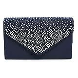 Nodykka Women Evening Envelope Rhinestone Frosted Handbag Party Bridal Clutch Purse Shoulder Cross Body Bag,One Size,Dark Blue