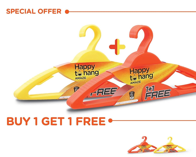 Amazon: Happy to Hang Amaze 6+6 Piece Polypropylene Hangers @ Rs.199/-