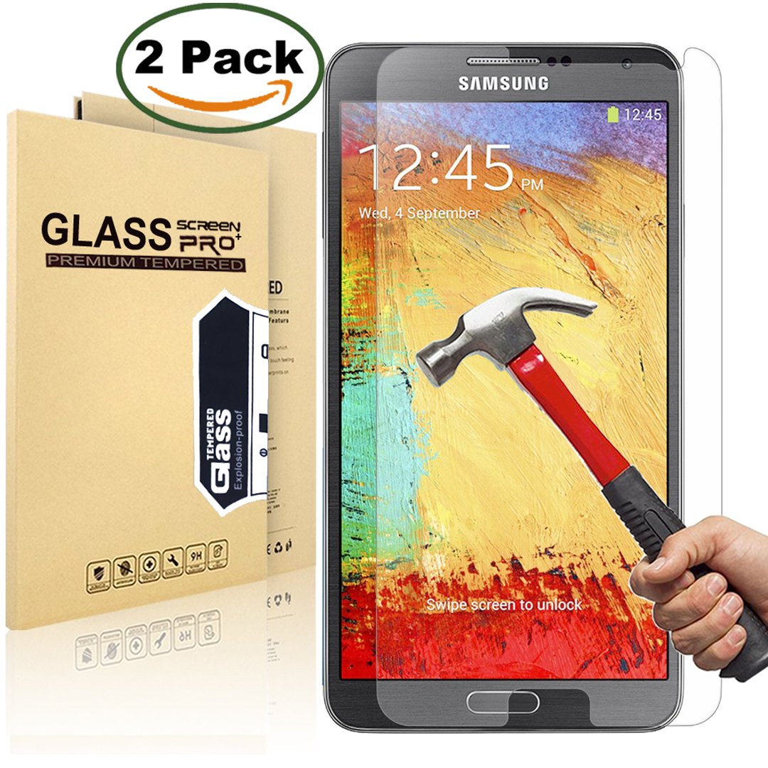 (2 Pack) SamSung Note 3 Screen Protector, MaxTeck 0.26mm 9H Tempered Shatterproof Glass Screen Protector Anti-Shatter Film for Samsung Galaxy Note 3 N900 N900V N900T - Lifetime Warranty