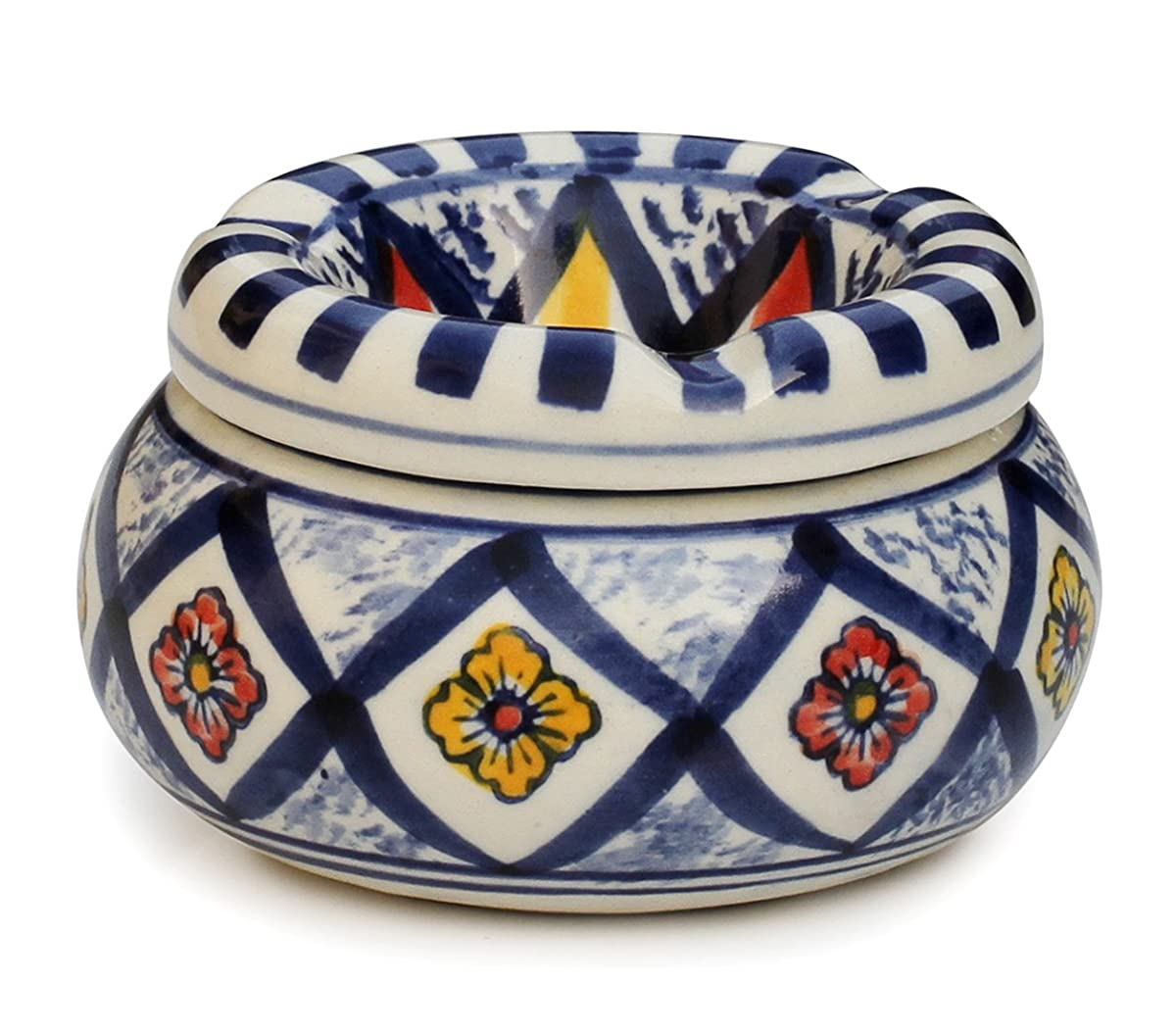 Smokeless Ashtray - SouvNear Moroccan Round Ceramic Ashtray with Lid for Outdoors and Indoors with 3 Cigarette Holder Slots
