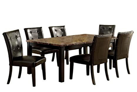 Furniture of America Belleterre 7-Piece Dining Table Set with Faux Marble Top, Black Finish