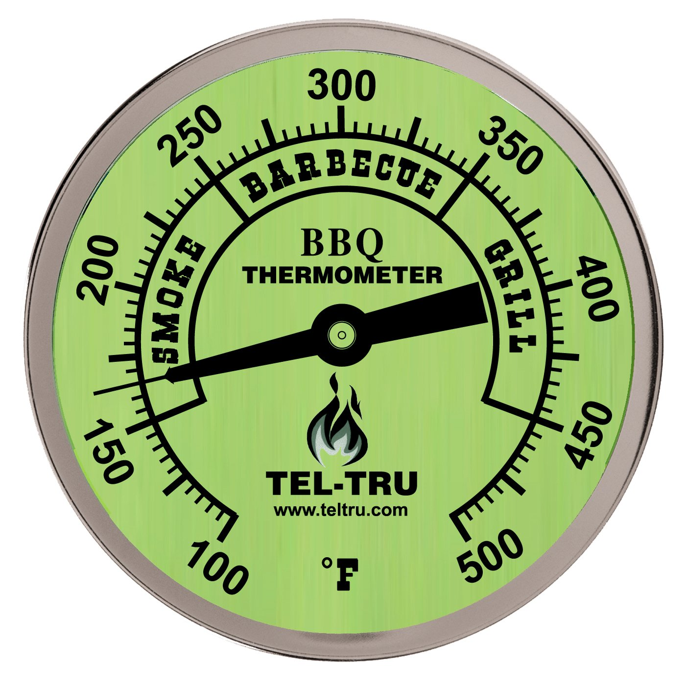 -Tru BQ300 Barbecue Thermometer, 3 inch glow dial with zones, 4 inch stem, 100/500 degrees F