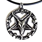 BIG Baphomet Goat Laveyan Inverted Star Pentacle Satanic Devil Pewter Pendant W PVC Cord