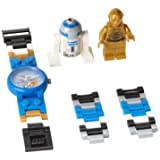 LEGO Kids Star Wars C-3PO and R2-D2 Plastic Watch with Link Bracelet and Coordinating Figurines 9001178 (Color: Blue, Tamaño: NO SIZE)