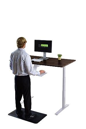 Rise Up–électrique Hauteur réglable Bureau Ergonomique pour bureau, bureau debout, assis à debout Table W/bureau en bambou massif White Frame + Bamboo Top