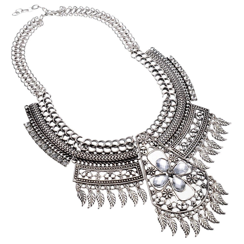 Jerollin Vintage Ethnischen-Stil Silber Kette Halskette fuer Geschenk Party Abenskleidung(Weisse Kristall und Weisse Resin) jetzt kaufen