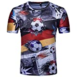 Men Boys 2018 FIFA World Cup Germany Deutschland Soccer T-Shirt Short Sleeve Printed Germany National Flag T-Shirt Soccer Football Shirt Germany XL=US L (Color: Germany, Tamaño: XL=US L)