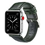 OUHENG Compatible with Apple Watch Band 42mm 44mm, Genuine Leather Band Replacement Compatible with Apple Watch Series 4 Series 3 Series 2 Series 1 (42mm 44mm) Sport and Edition, Green (Color: Green Band, Tamaño: 42 mm)