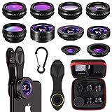 Phone Camera Lens,10 in 1 Cell Phone Lens Kit 0.63 Wide Angle Lens+0.36 Wide Angle Lens+198°Fisheye Lens+20X Macro Lens+15X Macro Lens+Star Filter+CPL+Kaleidoscope Lens+Telephoto Lens+Flow Filter