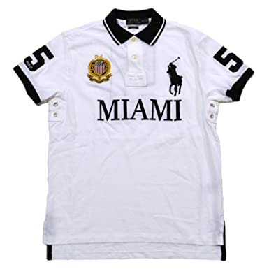 Polo Ralph Lauren Mens Big Pony City Custom Mesh Polo (White Miami, XS)