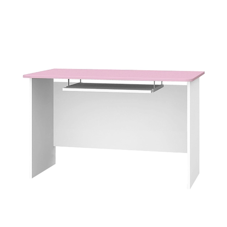 Schreibtisch mit Tastaturablage Kinderschreibtisch BABY SHEEP 120x70x75cm weiß hellrosa B-120