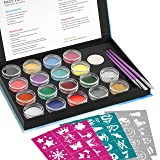 Professional Face Paint Kit for Kid and Adult with 48 Stencils, Nicpro Non-Toxic Water-Based Body Face Makeup Painting Set of 16 Colors & 2 Glitters 3 Assorted Paint Brushes 2 Sponges (Color: 24 pcs, Tamaño: face paint)