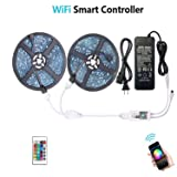 WenTop Waterproof LED Strip Lights, WiFi Wireless Smart Phone Controlled UL RGB LED Light Strip Kit 32.8ft(10M) 300leds LED Strip,Works with Android and iOS System,IFTTT,Google Assistant and Alexa (Color: Smart Phone Controlled Waterproof)
