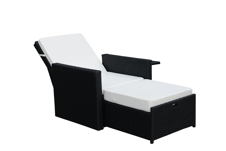 Gartenfreude Liege Sessel Polyrattan mit verstellbarer Rückenlehne, Aluminiumgestell, Schwarz, 4-Faser 125x73x92cm