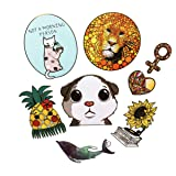 100PCS Cute Stickers Laptop and Water Bottle Decal Gold Stamping Transparent Aesthetic Sticker Pack for Teens Girls Women Vinyl Stickers Waterproof(Cute 100) (Color: cute 100)