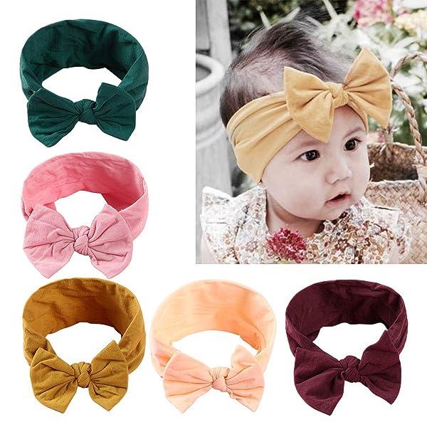 5pcs Baby Girl Headbands and Bows - Nylon Turban Round Knot Headband Fits  newborn toddler infant girls ... 6a241032cc5