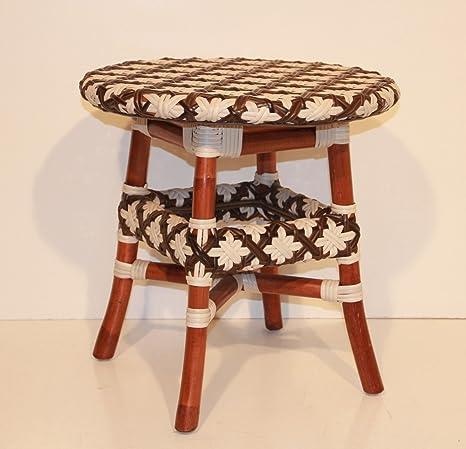 Round Coffee Table Wicker Eco Rattan Handmade Plastic Weaving Color Cognac