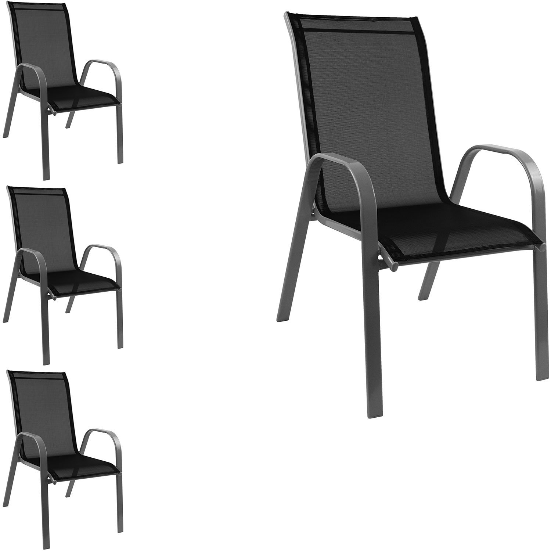 4 Stück Stapelstuhl Gartenstuhl stapelbar Stahlgestell pulverbeschichtet mit Textilenbespannung Gartenmöbel Balkonmöbel Terrassenmöbel Grau / Schwarz online kaufen