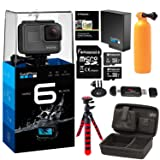GoPro HERO6 Black Camera, Extra GoPro Rechargeable battery, Lexar Action Camera Case, Flexible Tripod, Polaroid 8GB and 16GB MicroSD cards and Accessory Bundle