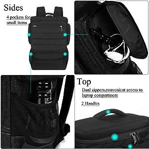 Laptop Backpack 17.3 Inch,BRINCH Water Resistant Travel Backpack for Men Women Luggage Rucksack Hiking Knapsack College Shoulder Backpack Fits 17-17.3 Inch Laptop Notebook Computer, Black (Color: Black-Black, Tamaño: 17 Inches)