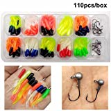 110 Piece 10 Mixed Colors Fishing Lures Crappie Tube Jigs Kit (Color: 110PCS KIT, Tamaño: 110pcs kit)