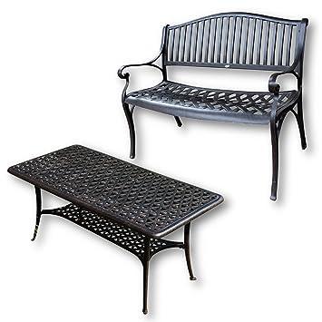 Lazy Susan - GRACE Gartenbank und CLAIRE Rechteckiger Garten Beistelltisch - Gartenmöbel Set aus Metall, Antik Bronze