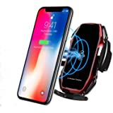KMI CHOU A5 Wireless Car Charger,Automatic Clamping IR Intelligent Wireless Car Charger Mount - Car Charger Holder 10W Fast Charging for iPhone Xs Max/XR/X/8/8Plus Samsung S10/S9/S8/Note 8-Metal red (Color: Metal red)