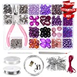 Modda Jewelry Making Kit- DIY Beading Arts and Crafts Kits for Teen Girls, Beginners, Adults - Includes Supplies, Beads, Charms, Instructions for Bracelets, Necklaces, Earrings Making - Purple Kit (Color: Purple)