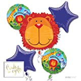 Andaz Press Balloon Bouquet Party Kit with Gold Cards & Gifts Sign, Jungle Safari Lion Monkey Giraffe Party Foil Mylar Balloon Decorations, 1-Set (Color: Jungle Safari Lion)