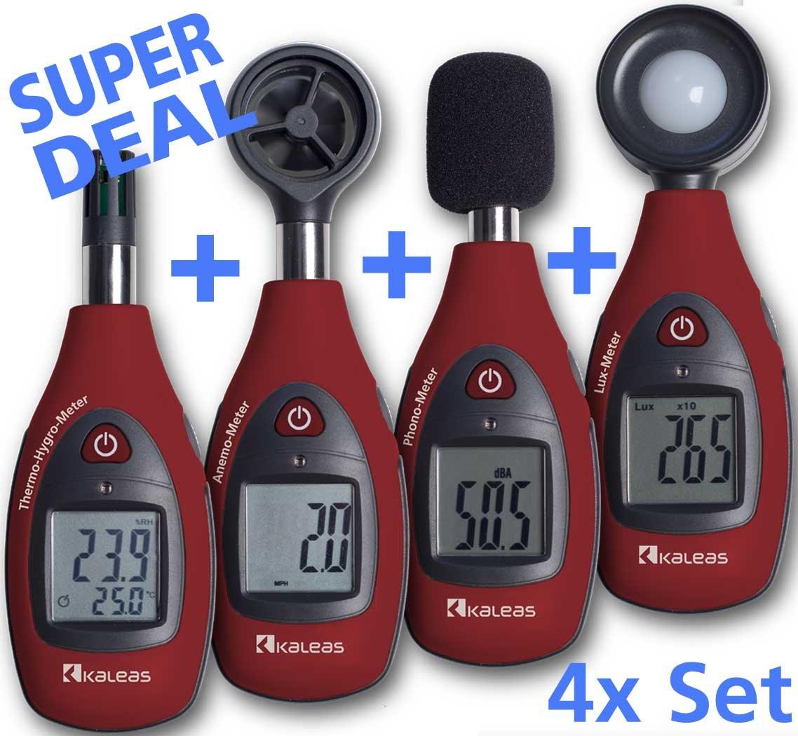 Kaleas MDSet3 bestehend aus 1x MD11 ThermoHygroMeter + 1x MD12 AnemoMeter + 1x MD13 PhonoMeter + 1x MD14 LuxMeter  BaumarktKundenbewertungen