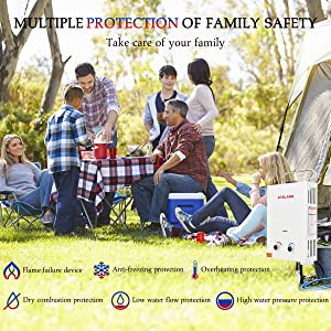 Tankless Water Heater, Gasland BS158 1.58GPM 6L Outdoor Portable Gas Water Heater, Instant Propane Water Heater, Overheating Protection, Easy to Install for RV Cabin Barn Camping Boat (Color: White, Tamaño: 6L)