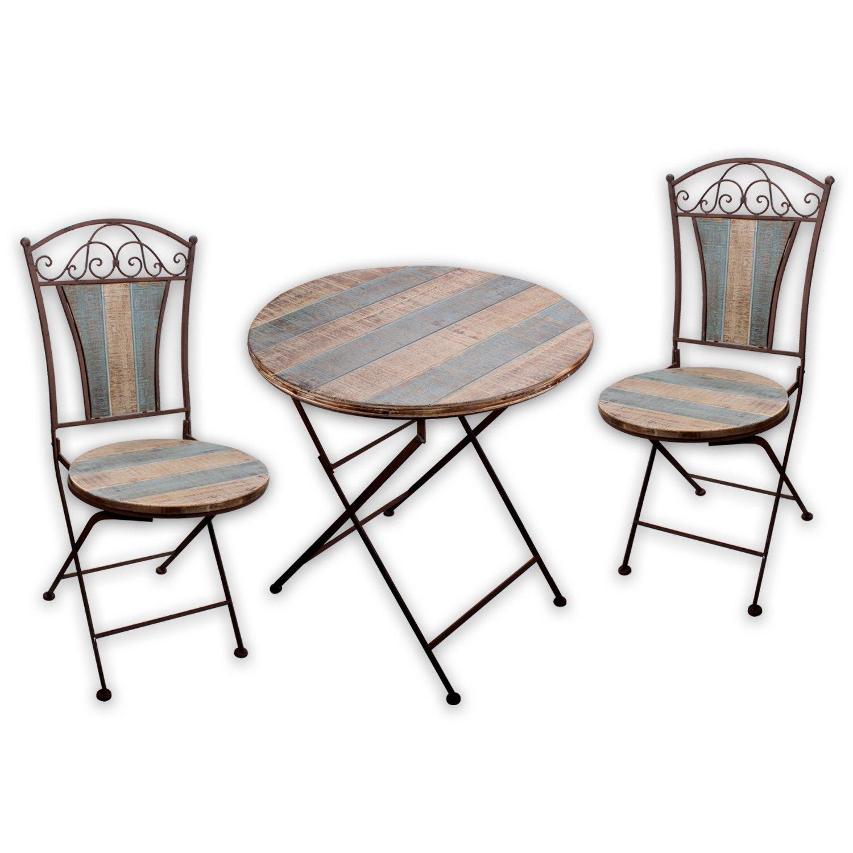 """Gartenmöbel SET – 1x Tisch 2x Stuhl """"Nostalgica I"""" in Rostoptik für indoor und outdoor günstig online kaufen"""