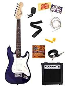 Squier by Fender Mini Strat Electric Guitar Bundle with 10 Watt Guitar Amp, Instrument Cable, Strings, Tuner, Strap, Stringwinder, Picks, Instructional DVD, and Polishing Cloth   Blue commentpurchaseforth putting news other related contents