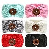 Ranipobo Pack of 6 Baby Girl Knit Crochet Turban Headband Warm Headbands for Newborn Hair Head Bowknot Band