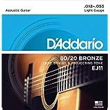 D'Addario EJ11 80/20 Bronze Acoustic Guitar Strings, Light, 12-53 (Tamaño: Light, 12-53)