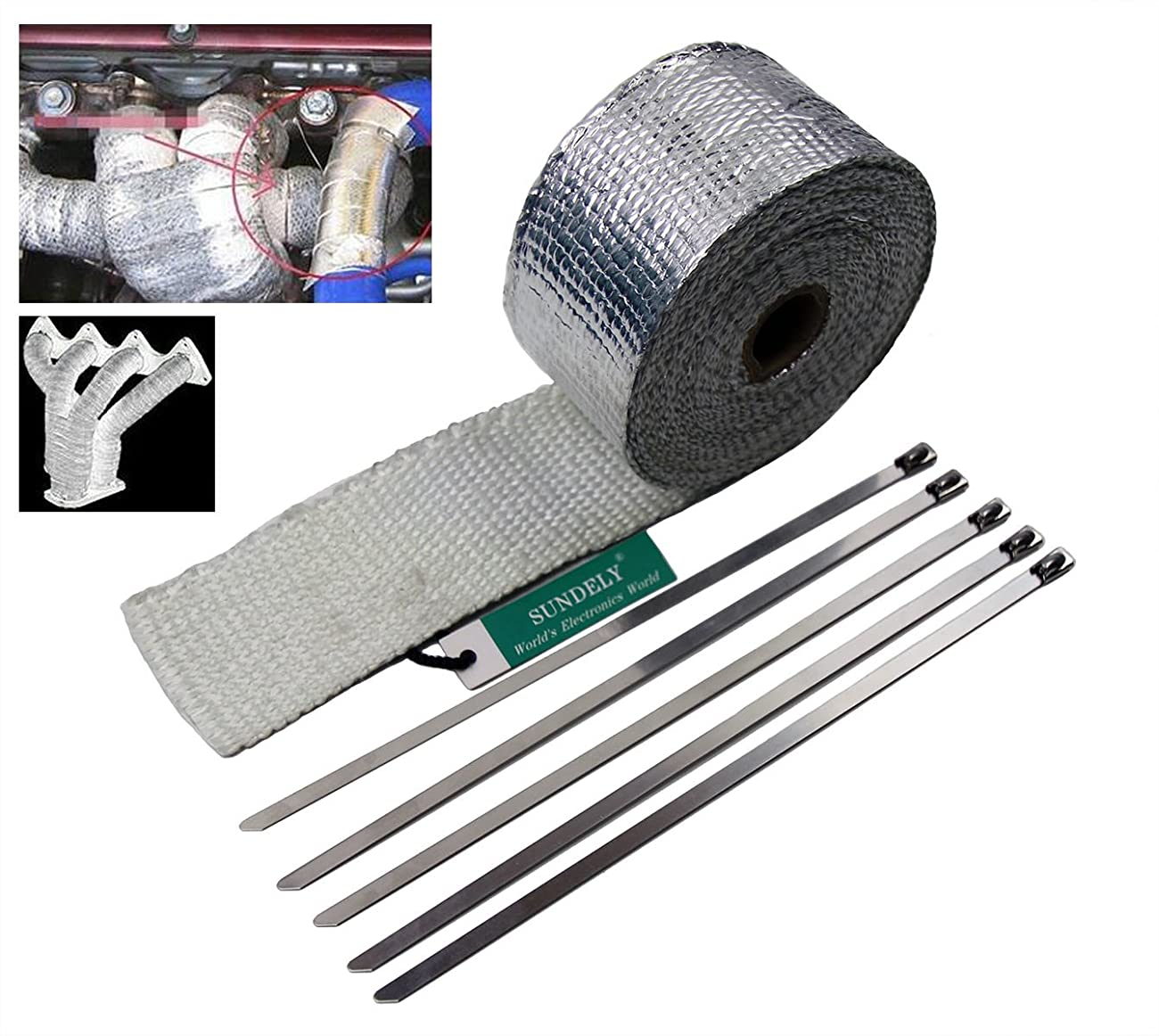 SUNDELY® Silver Color Glassfiber Exhaust Pipe Header Heat Wrap Resistant Downpipe Tape Roll 2in X 16ft (5cm X 5m) + 5 Metal Ties 0