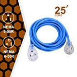 220V Welder Extension Cord, 50A plug 3-Prong 250-Volt, 6-50P/6-50R SJT 3/C 12AWG(Replaceable 8AWG) Blue Welder Extension Cords(25') Welding Machine Heavy Duty Cords . (Color: Bule)