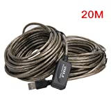 Sala-Deco - 5m 10m 15m 20m USB Cable Male To Female USB 2.0 Extension Cable Extension Line Cable High Speed Wire Data Adapter Connector (Color: 20m, Tamaño: 16.4 feet)