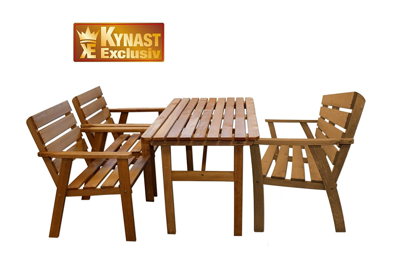 Sitzgruppe Holz 4-tlg dunkel KYNAST Gartenmöbel Stuhl Tisch günstig online kaufen