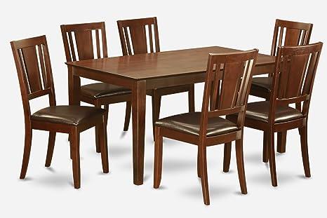 East West Furniture CADU7-MAH-LC 7-Piece Dining Table Set
