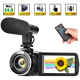 Camcorder Digital Video Camera Full HD 1080P 30FPS Vlogging Camera with External Microphone and Remote Control (Color: M9B)