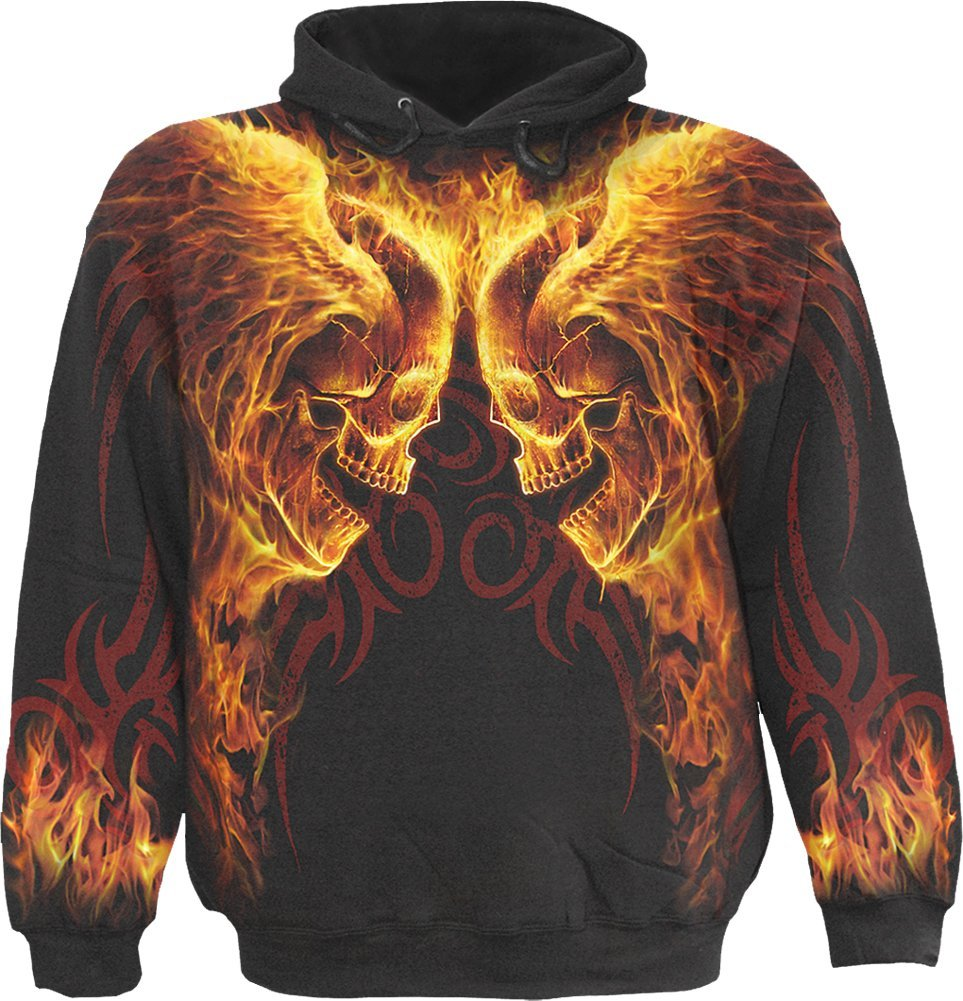 Mens - BURN IN HELL - Allover Hoody Black