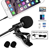 UMITOM Lavalier Lapel Microphone Wireless Lavalier Microphone 3.5 mm Omnidirectional Condenser Mic Professional Clip-on System Lapel Microphone for Re