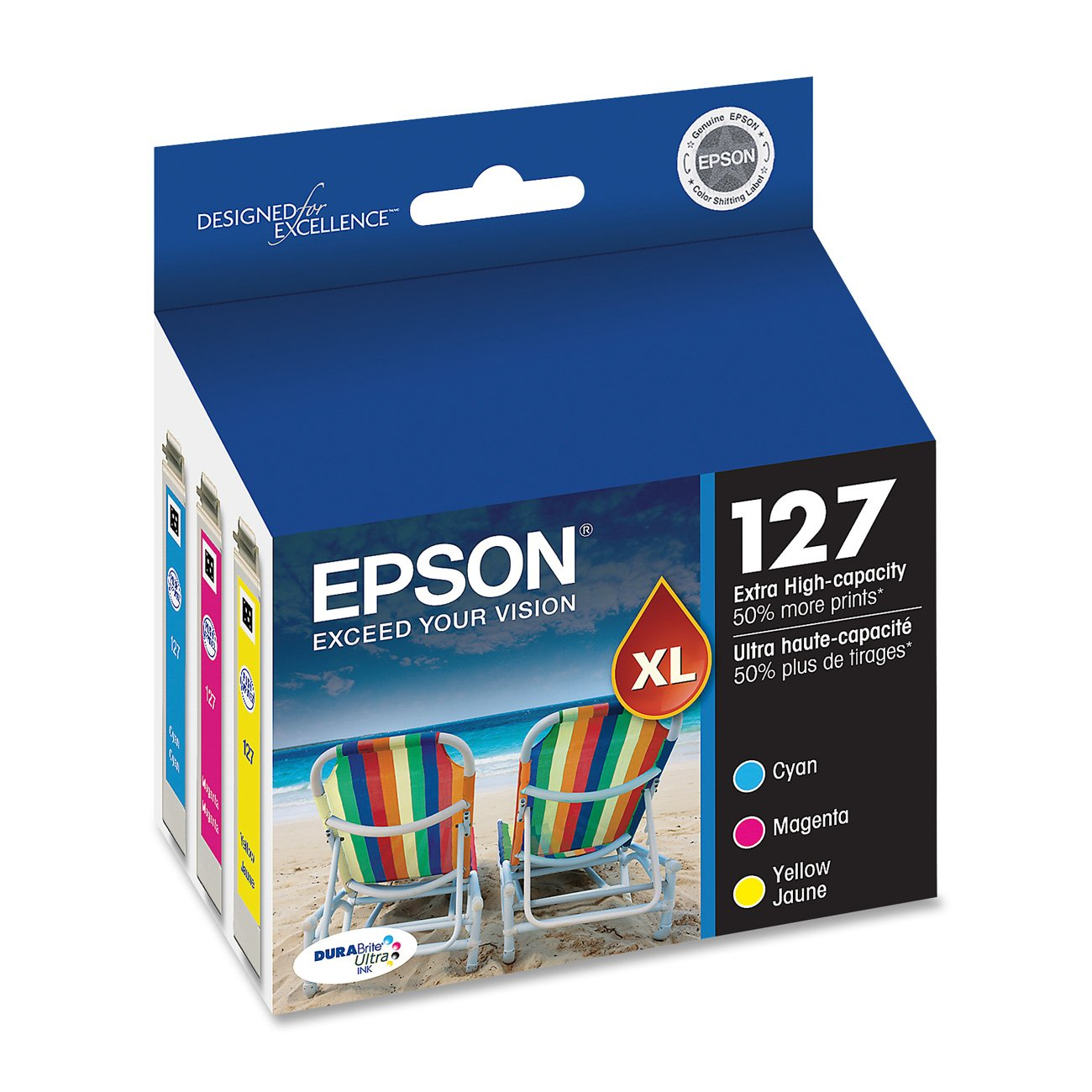Epson DURABrite T127520 Ultra 127 Extra High-capacity Inkjet Cartridge Color Multipack-Cyan/ Magenta/ Yellow
