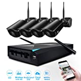 Wireless Security Camera, JOOAN System 4 Channel 1080p Video Recorder CCTV NVR 4 x 2.0MP Wifi Outdoor Network IP Cameras Good Night Vision (Color: Black-1080P wireless system)