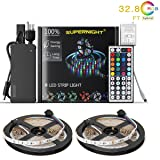 NEW 2018 LED Strip Lights Kit Non-waterproof– 32.8ft (10M) 600 LEDs SMD 3528 RGB Light with 44 Key Remote Controller, Extra Adhesive Tape, Flexible Changing Multi-Color Lighting Strips for TV, Room