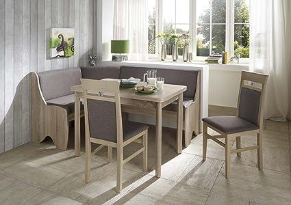 Dreams4Home Eckbankgruppe 'Coro' Essgruppe 166 x 126 x 87 cm Tisch 2 Stuhle modern Sonoma Eiche Dekor grau braun Eckbank Kuchentisch 4-teilig Landhaus Kuche