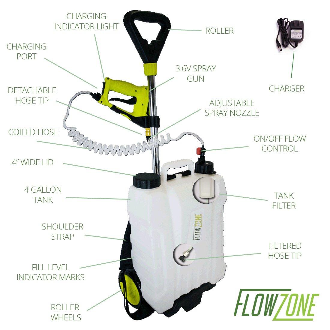 Flowzone 4 Gal Multi Use 3 6v Battery Powered Backpack Or Rolling Garden Sprayer Ebay