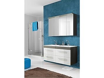 lavabo doppio COMOS bianco con lavandino - Marrone, Spiegel & Waschtisch